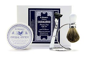 Shaving soap gift set with Universal Ointment design ceramic pot